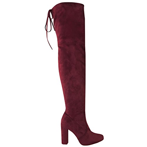 Ladies Womens Block High Heel Thigh Over The Knee Stretch Suede Sexy Boots Burgundy 0NPhTX