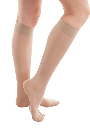 GABRIALLA Sheer Knee Highs, Compression Stockings (23-30 mmHg) Beige, Medium - 20 Support Cloth