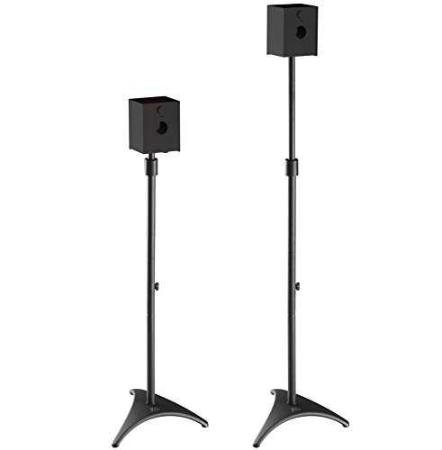 "Mounting Dream MD5401 Height Adjustable Speaker Stands Mounts, Two in One Floor Stands, Heavy Duty Base and ExtendableTube with 11 LBS Capacity Per Stand, 35.5-48"" Height Adjustment"