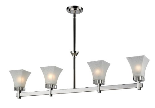 - Z-Lite 319-4 Pershing Four Light Island/Billiard Light, Steel Frame, Polished Nickel Finish and White Watermark Shade of Glass Material