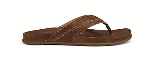 OluKai Mohalu - Mens Leather Sandals Dk Wood/Dk Wood - 14