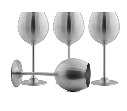 Modern Innovations Stainless Steel Wine Glasses, Set of 4, 12 Oz Made of Unbreakable BPA Free Shatterproof Steel That Is Dishwasher Safe Great for Daily, Formal and Outdoor Use, Camping & Picnics (Wine Glasses Stainless Steel compare prices)
