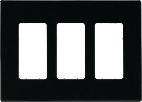 (Eaton PJS263BK Decorator Screwless Wallplate, 3-Gang, Black)