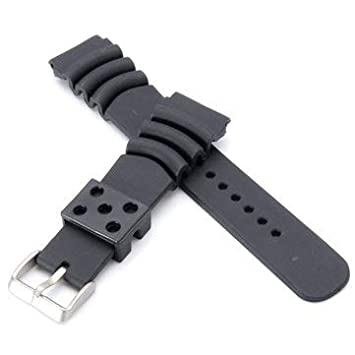 Replacement 20mm/22mm Black Divers Silicone Watch Band Strap ...