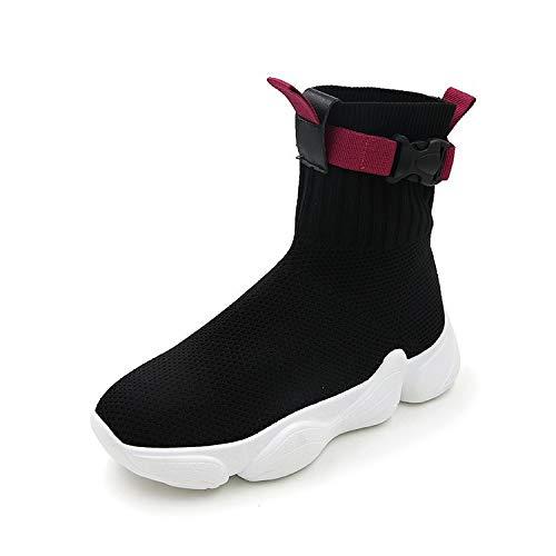 High Montantes Été Chaussures top Élastiques Black Chaussettes hop Femme Baskets Liuxc Hip Sauvages tBqxwvffXd