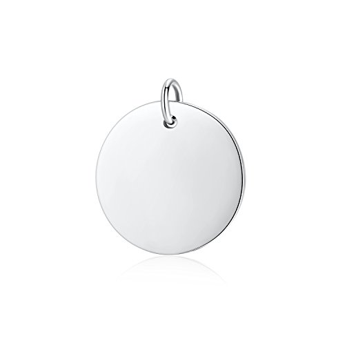 - 925 Sterling Silver Round Engravable Pendant Coin Stamping Blanks Disc Tags Plate Pendant for Necklace (Medium-15mm Diameter)