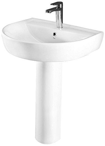 - CeraStyle 007800U-PED-One Hole Bella Round Ceramic Pedestal Sink, White