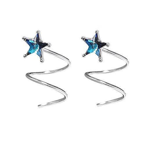 FarryDream 925 Sterling Silver Blue Crystal Star Earrings for Teen Girls Fashion Wrap Earrings