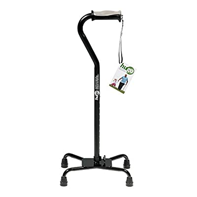 Hugo Mobility Adjustable Quad Cane for Right or Left Hand Use, Ebony, Large Base