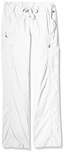 (Code Happy Women's Bliss Low-Rise Drawstring Cargo Pant with Certainty and Fluid Barrier, White, Large/Tall)