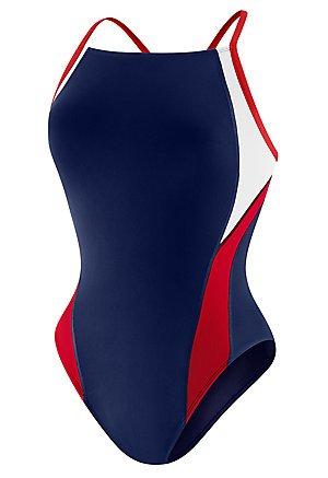 Speedo Women's Endurance+ Launch Splice Cross Back One Piece Swimsuit, Navy/Red/White, 38