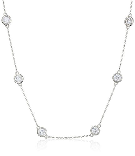 Platinum Plated Sterling Silver Station Necklace set with Swarovski Zirconia (5mm), 36