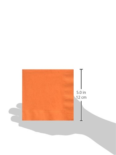 Creative Converting Paper Napkins, 3-Ply Beverage Size, Sunkissed Orange Color, 50-Count Packages (Pack of 5)