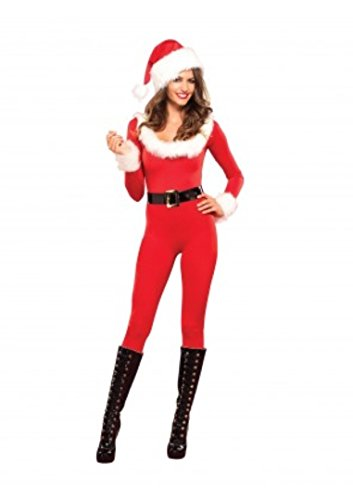 Santa Baby Catsuit Adult Womens Costumes (3 PC. Ladies Santa Baby Catsuit - Large - Red/White)