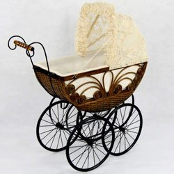 Regal Doll Carriages Caroline Doll Carriage Wicker - Lace Carriage