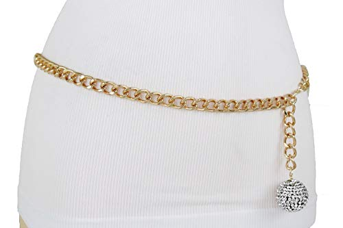 TFJ Women Hip Waist Dressy Fashion Belt Gold Metal Chain Link Ball Bling Charm Buckle M L XL