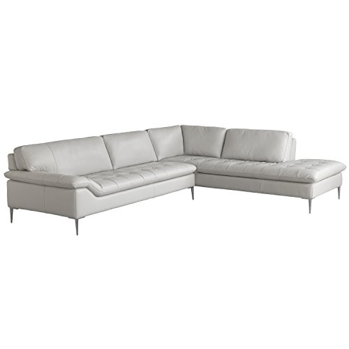 Chateau d'Ax Italia Living Room Leather Love Seat and Corner Chaise Sectional White 2 PCS (Right Arm Facing) - Plush Leather Match Upholstery