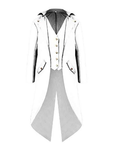 Trench Swallowtail White Outwear Coat Down RkBaoye Mens Gentlemant Turn Collar PxZ1Yq