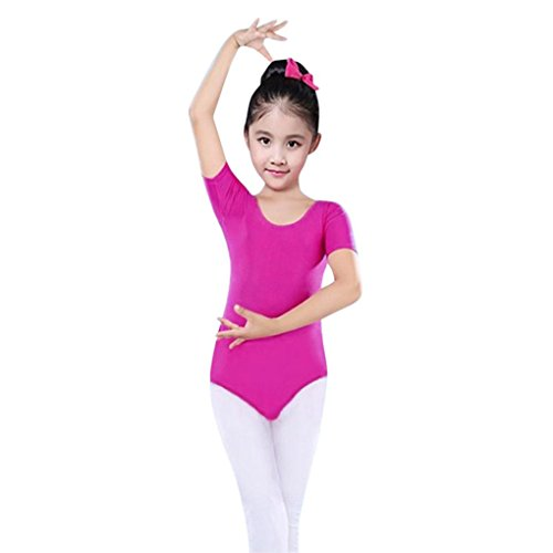 SMALLE Clearance Little Girls Leotards Ballet Playsuit Dancewear Gymnastics Classic Outfits (3-4T, Hot Pink)