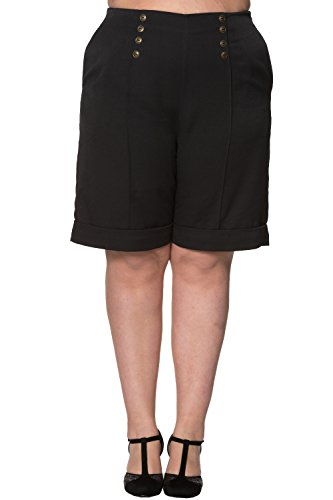 Banned Weekender PLUS SIZE Vintage Retro Short Trouser - Navy or - Navy / (Womens Tailored Shorts)