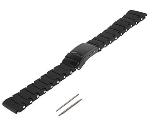 23mm Black Polyurethane Rubber Link Bracelet Watch Band Luminox 3050 3950 NAVY SEAL COLORMARK (Black with PVD Buckle) ()