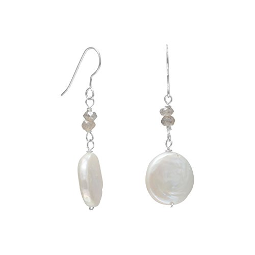 White Cultured Freshwater Pearl and Labradorite Drop Earrings Sterling Silver