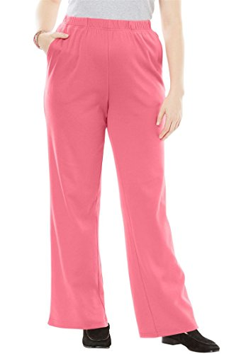 Woman Within Plus Size 7-Day Knit Wide Leg Pant - Begonia, 4X