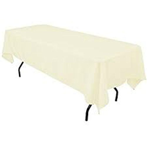 LinenTablecloth 60 x 102-Inch Rectangular Polyester Tablecloth Ivory ()