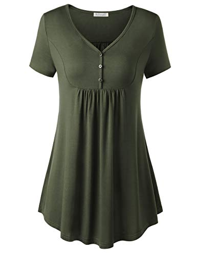 (BAISHENGGT Short Sleeve Tunics for Women, Women's Short Sleeve V Neck Front Pleated Flared Comfy Loose Tunic Top Army Green XL)