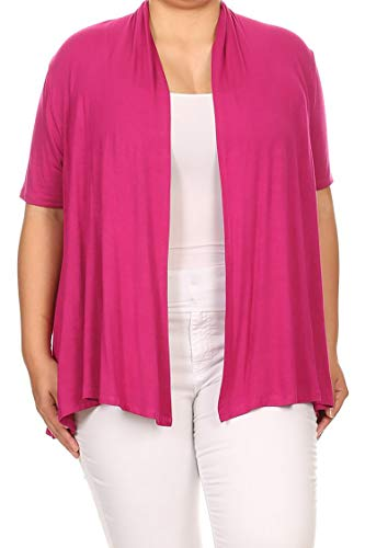 (Solid Casual Loose Fit Open Front Draped Cardigan/Made in USA Fuchsia XL)
