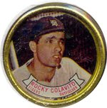 1964 Topps Metal Coins (Baseball) Card# 46 Rocky Colavito of the Cleveland Indians VG Condition