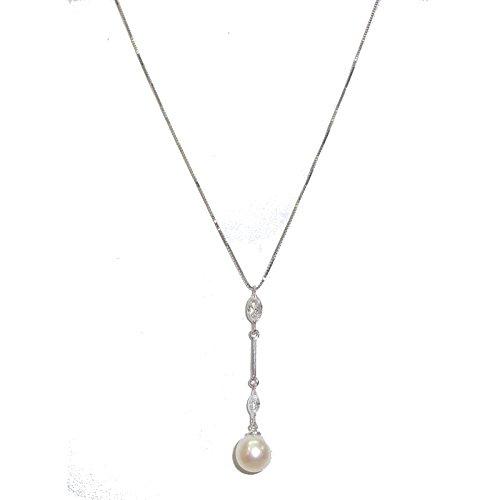 9d73401d98 Ambrosia Gioielli - Collana girocollo donna Ambrosia in oro bianco 18  carati con perla e zirconi: Amazon.it: Gioielli