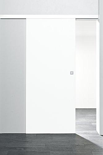 Schiebetür Holz-Schiebetür Zimmertür 880x2035mm Innentür Komplettset mit Laufschiene & Holztür (weiß)