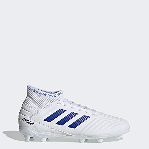 adidas Unisex-Kid's Predator 19.3 Firm Ground Soccer Shoe, White/Bold Blue/Bold Blue, 4 M US Big Kid