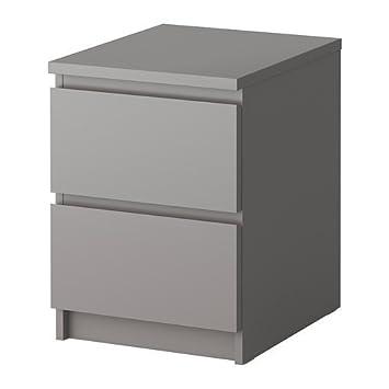 Ikea Malm Kommode Mit 2 Schubladen In Grau Amazon De Kuche Haushalt