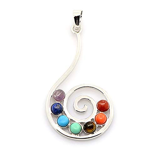 Craftdady 10Pcs 7 Chakra Reiki Gemstone Vortex Pendants 1.81x0.98
