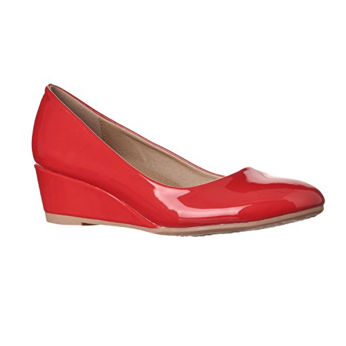 Riverberry Women's Alice Low-height Round Toe Wedge Pumps, Red Patent, (Sexy Red Patent Shoes)