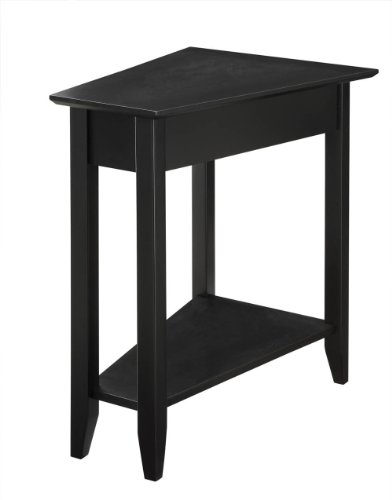 Living Room Modern Side Table - Convenience Concepts American Heritage Modern Wedge End Table, Black