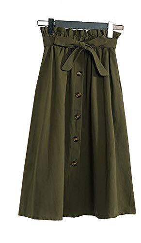 Allonly Women's A-Line High Waisted Button Front Drawstring Pleated Midi Skirt with Elastic Waist Knee Length Olive Green