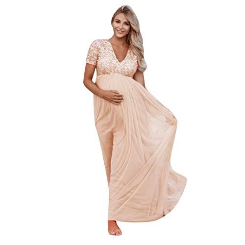 HX fashion Zwangerschapsjurk Voor Vrouwen Korte Mouw V Hals Pailletten Hoge Comfortabele maten Taille Zwangere Jurk…
