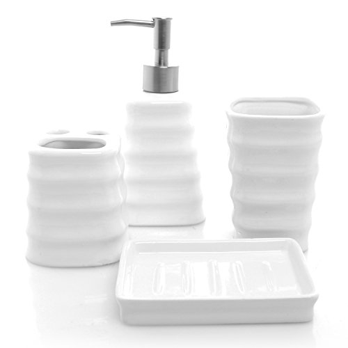 4 piece ribbed white ceramic bathroom accessory set w toothbrush holder tumbler soap dish - Bathroom accessories dubai ...