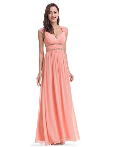 Ever-Pretty Womens Beaded Empire Waist Sleeveless V-Neck Floor Length 12 US Peach -