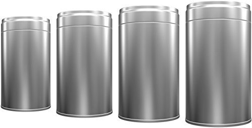 Set of 4 Airtight Tea Tin Cans, Perfect Tea Storage Can, Preserves Freshness & Flavour - Effective Quality & Beautiful Design (Metallic Silver) (Tea Storage Can compare prices)