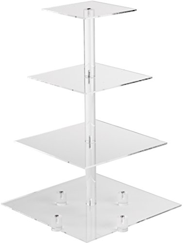YestBuy 4 Tier Square Tower Acrylic Cupcake Display Stand (20 Inches)