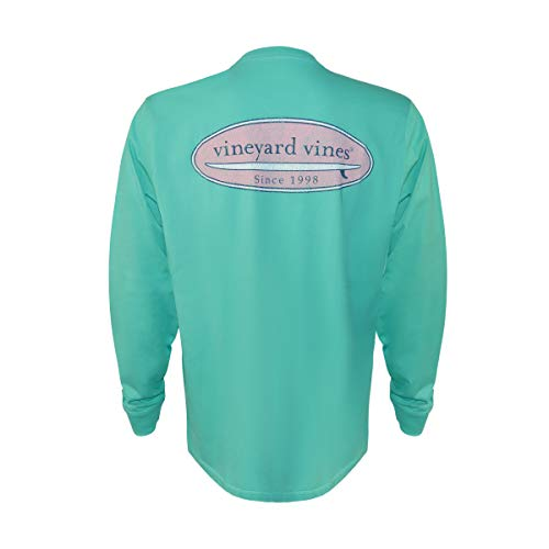 Vineyard Vines Men's Long-Sleeve Graphic Pocket T-Shirt (Aquinnah Aqua Surf Logo, -