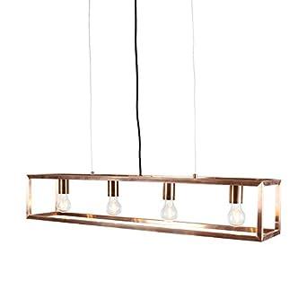 rectangular pendant lighting. qazqa industrial modern pendant lamp light ceiling cage 4 copper rectangular suitable lighting r