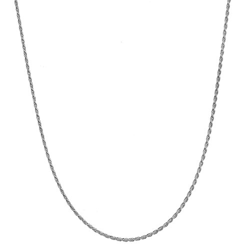 Sterling Silver 1.2mm Italian Diamond Cut Rope Chain Necklace - 22