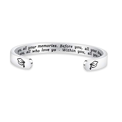FEELMEM Graduation Gifts Behind You All Memories Before You All Your Dream Graduation Keychain Inspirational Graduates Gifts 2018, 2019 (Cuff - Silver)