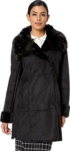 Lauren Ralph Lauren Women's Asymmetrical Faux Shearling Coat Black Small