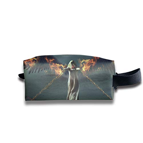 Fantasy Halloween Fallen Angel Girl Bounded by Chains Multi-Function Key Purse Coin Cash Pencil Travel Makeup Toiletry Bag Box Case -